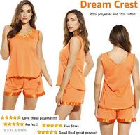 Women's Pajama Short Set With Satin Trim And Embroidery,medium,orange,dreamcrest