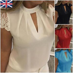 Women-Chiffon-Lace-Casual-T-Shirt-Ladies-Summer-Loose-Vest-Tops-Blouse-Size-6-22