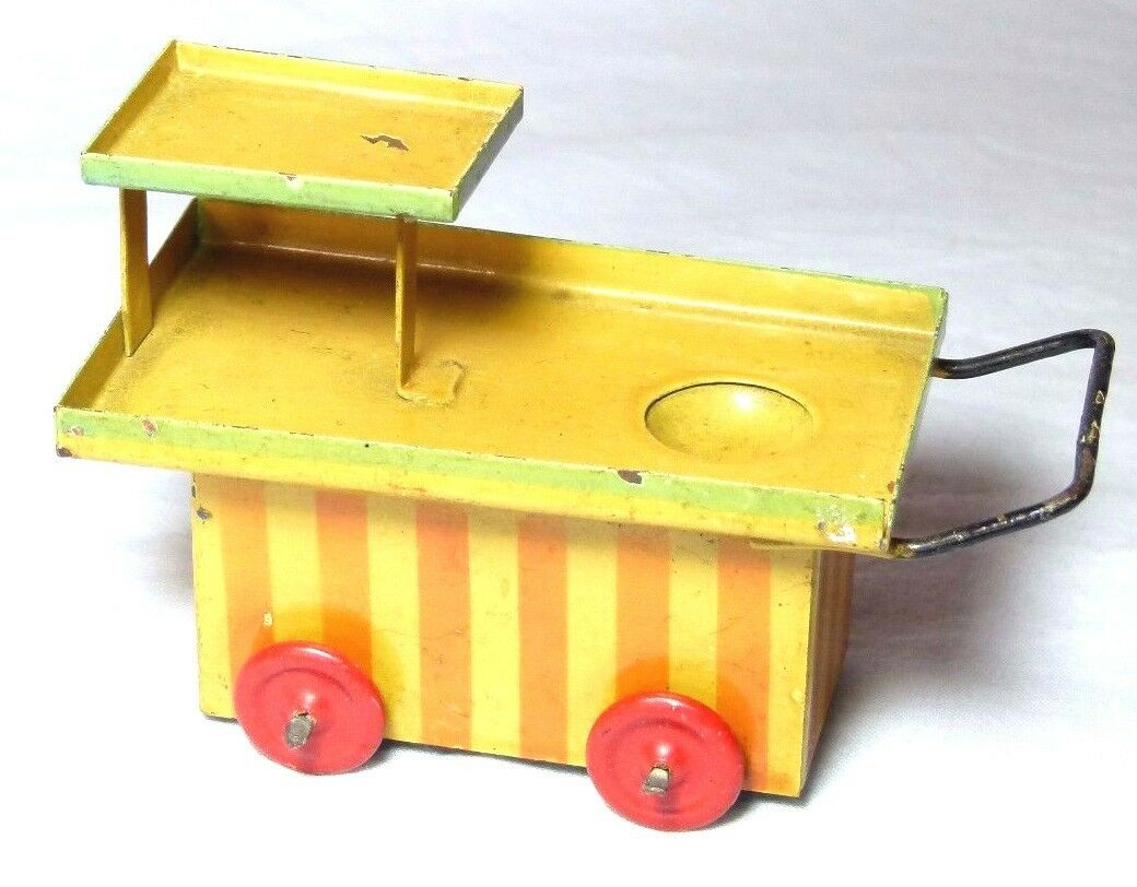 RARE VINTAGE TIN PLATE  ICE ICE CREAM STALL  PUSH ALONG PENNY TOY KIRRI GERMANY