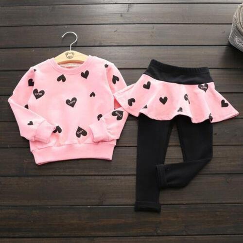 2tlg Mädchen Kinder Herz Pullover Sweatshirt Oberteile Tops Rock Hose Outfits