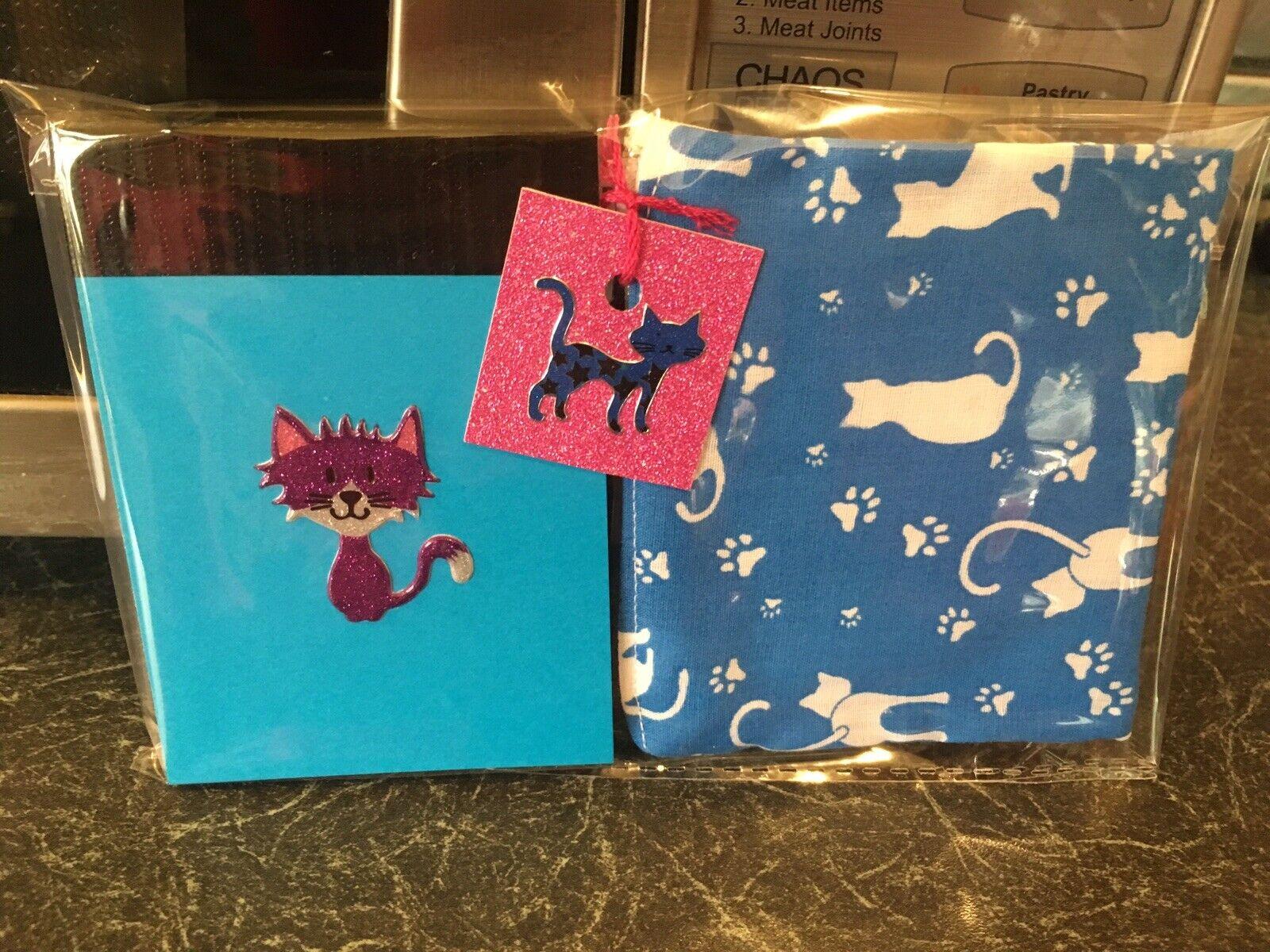 Retro Cat Kitty Kitsch Purse & Notebook Blue Purple 2 Piece Gift Set
