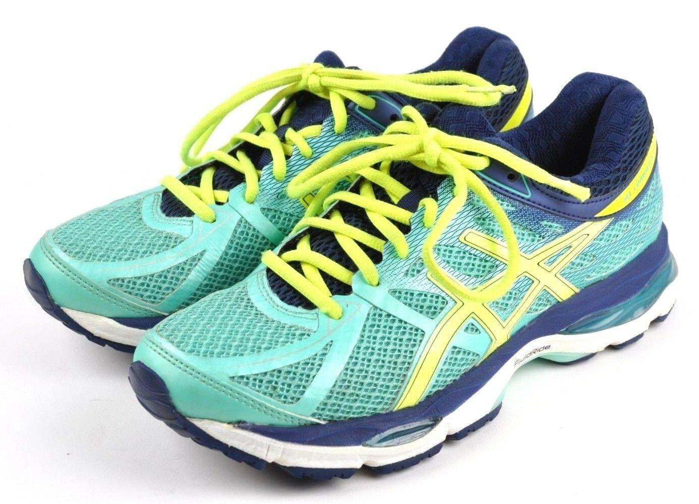Asics Gel Cumulus 17 Aqua Mint Flash Yellow Navy Running shoes, Womens US 7.5 2A