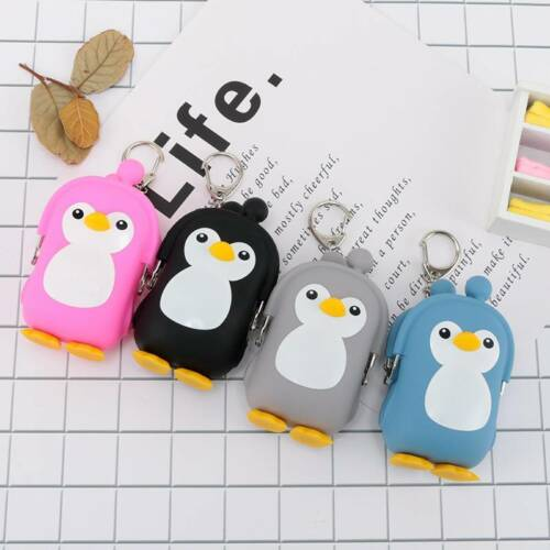 3D Mini Wallet Cute Silicone Penguin Cartoon Purse Keys Coin Bag For Kids Gift