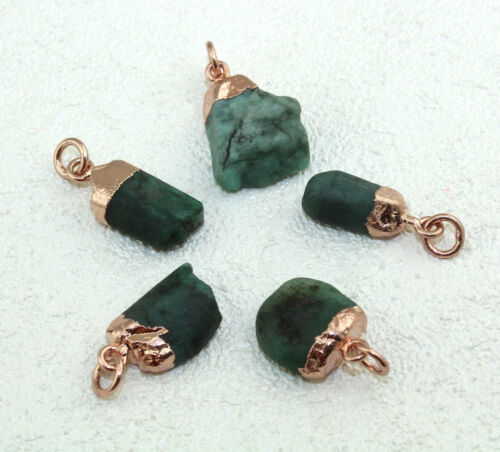 Natural Raw Rough Emerald Gold Silver Rose Gold Electroplated DIY Charms Pendant
