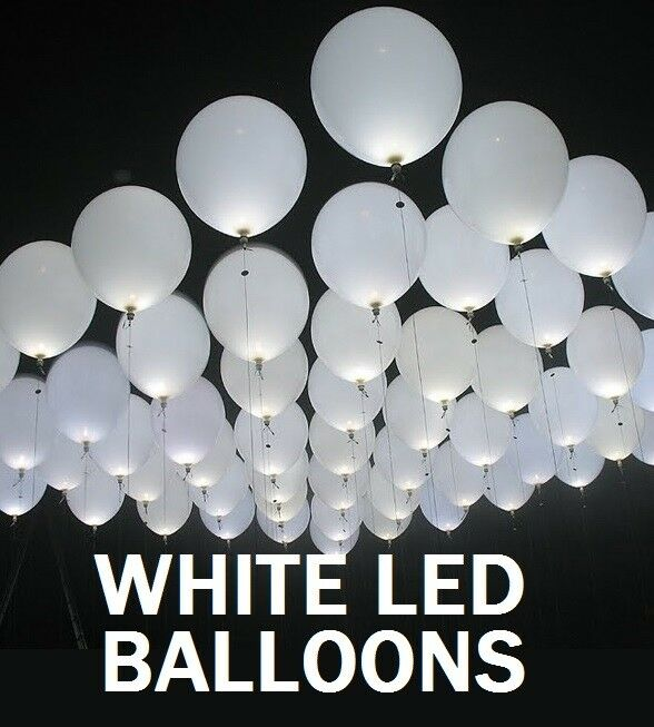 100 X LED BRIGHT Weiß 11  LARGE BALLOONS WEDDINGS BIRTHDAYS PARTIES PARTY FUN