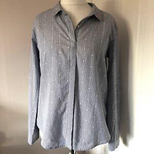 Laura-Ashley-Azul-y-Blanco-con-Rayas-Camisa-Blusa-Talla-14-Manchada-Botones-Abajo