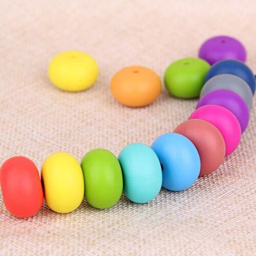 Roundel Loose Silicone Teething Beads DIY Baby Bracelet Teether Making BPA Free