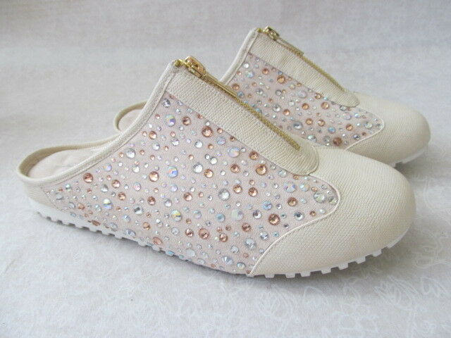JOAN BOYCE IVORY 12 ZIP UP RHINESTONE SLIDES SHOES SIZE 12 IVORY M NEW W BOX 3ddfa9
