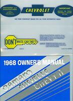 1968 68 Nova/ss/chevy Ii Owners Manual & Cover