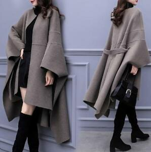 Womens-Wool-Blend-Oversize-Belted-Trench-Overcoat-Cloak-Poncho-Warm-Cape-Coat
