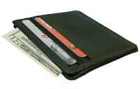 2 Pieces Of Black 100% Leather Thin Compact Credit Card Id Wallet Holder L-155