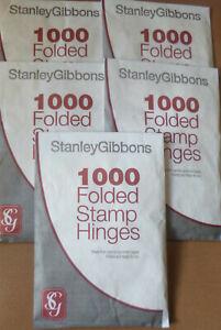 STANLEY-GIBBONS-1000-FOLDED-STAMP-HINGES-PEELABLE-Acid-Free-GUM-BULK-BUY-of-5