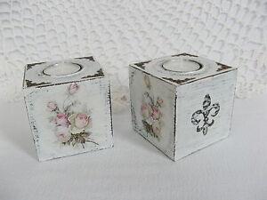 2-Teelichthalter-Kerzenhalter-Shabby-Rose-Fleur-de-Lis-Landhaus-Deko-Handarbeit