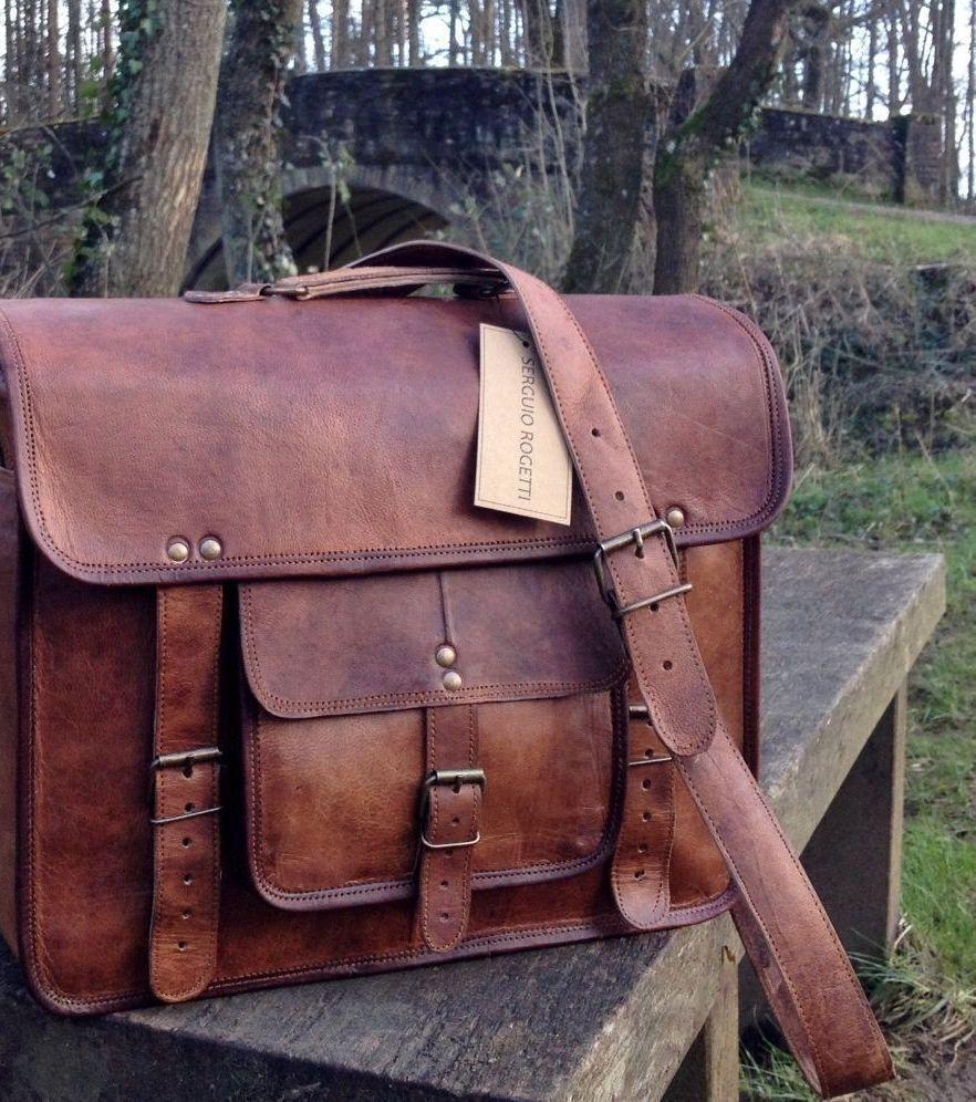 38Cm Männer Weinlese Leder Aktenkoffer Aktenkoffer Aktenkoffer  Kurier Schultaschen Laptop Taschen Neu     | Qualitätsprodukte  baad3b
