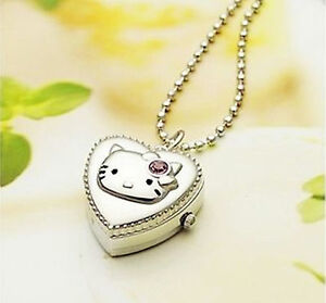 Girl Kid Child Lady Cute Hello Kitty Pocket Necklace Chain Watch