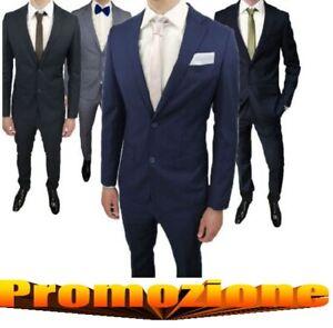 Vestito-abito-Uomo-Blu-Nero-grigio-Elegante-Slim-Fit-Abito-cerimonia-cravattino