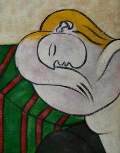 Reproduction De Tableau Peinture Huile Femme Aux Cheveux Jaunes Picasso 30x40cm Ebay