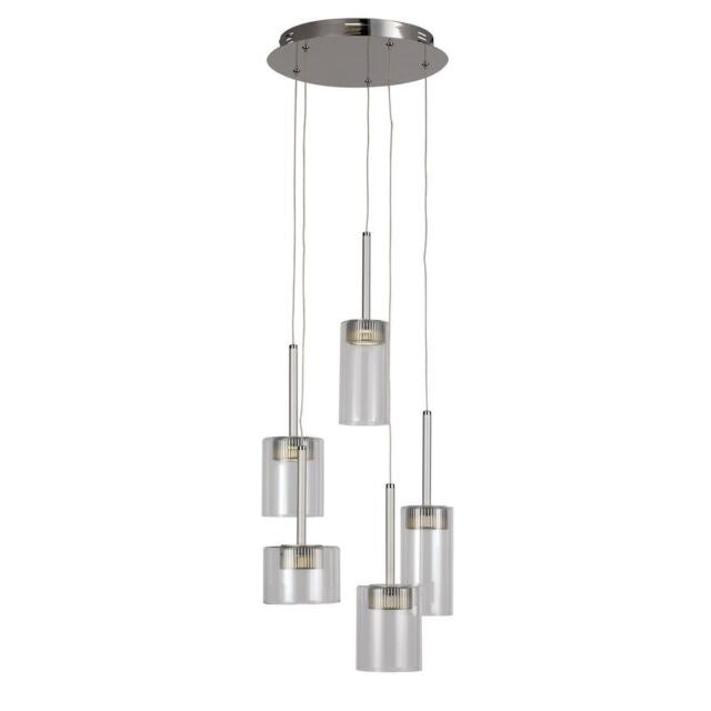 Transglobe 5-Light Polished Chrome LED Pendant with Clear Glass