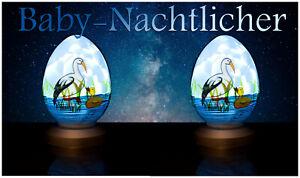 Set LED Luce Notturna CICOGNA regalo baby nascita battesimo cicogna Anatra Lampada