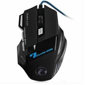 Raton Gaming Mouse X7 LED Cable USB Negro Mouse con Click o Silencioso 5500 DPI
