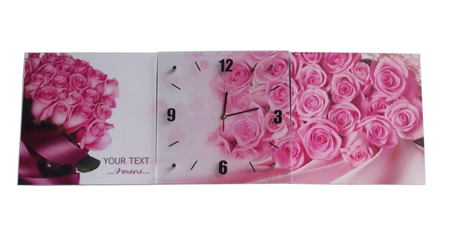 3Pcs Wall Clock three piece set Glass Density Board with Pink Rose 105cmx35cm