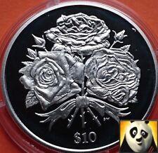 2006 SCARCE VIRGIN ISLANDS $10 Ten Dollars Roses Silver Proof Coin