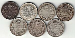 7-X-CANADA-TEN-CENTS-DIMES-KING-GEORGE-V-STERLING-SILVER-COINS-1913-1919