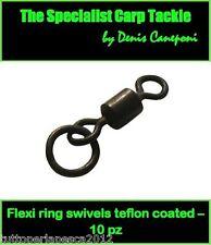 A0241 10 PZ FLEXI RING SWIVELS TEFLON COATED SIZE 8 CARPFISHING BOILIES