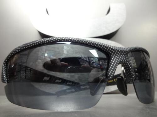 Mens WRAP AROUND SPORT CYCLING FISHING SUN GLASSES Carbon Fiber Frame Black Lens