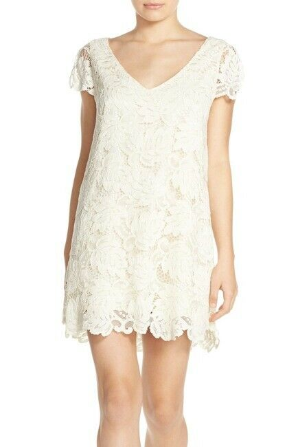 BB Dakota 'Jacqueline' Lace Shift Ivory Dress 10521 Größe M