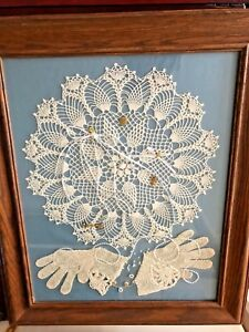 VTG-Hand-Crocheted-Lace-Doily-pearls-gloves-trinkets-Frame-Wall-Art-20x24-034