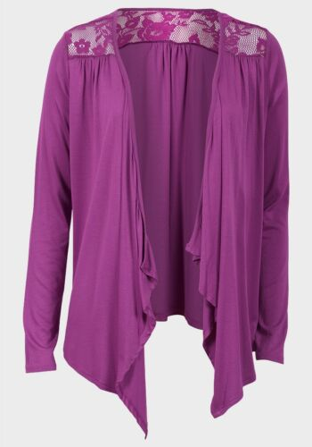 Ladies Womens Cardigan Open Front Long Sleeves Crochet Insert Back Purple Top