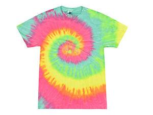Minty Rainbow Tie Dye Long Sleeve T-Shirt Adult S XXXL 100/% Cotton Colortone