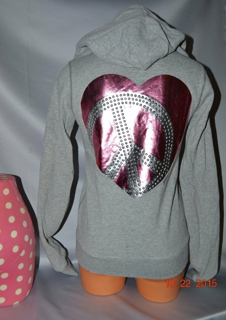 Victorias Secret Pink Foil STUDDED BLING Peace Sign Hoodie NWT XS