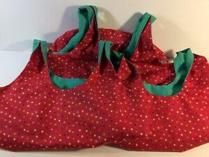 Set-Of-3-Fabric-Shopping-Grocery-Tote-Bags-Reusable-Lined-Handmade-Red-Greens