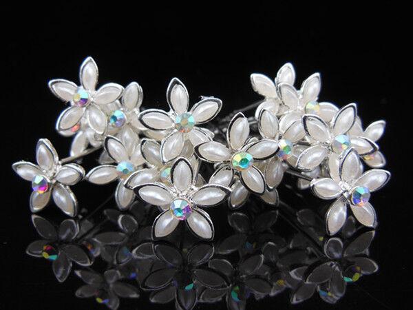 12 Pcs White Flower Bridal Wedding Prom Crystal Rhinestone Hair Pins Hair Sticks