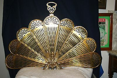 Vintage Solid Brass Winged Griffin Peacock Style Gothic Fireplace Screen