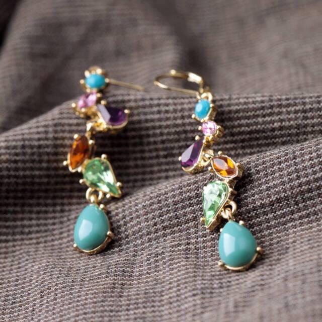 Dangle Long Drop Gem Alloy Crystal Earrings Fashion Multicolor Jewelry