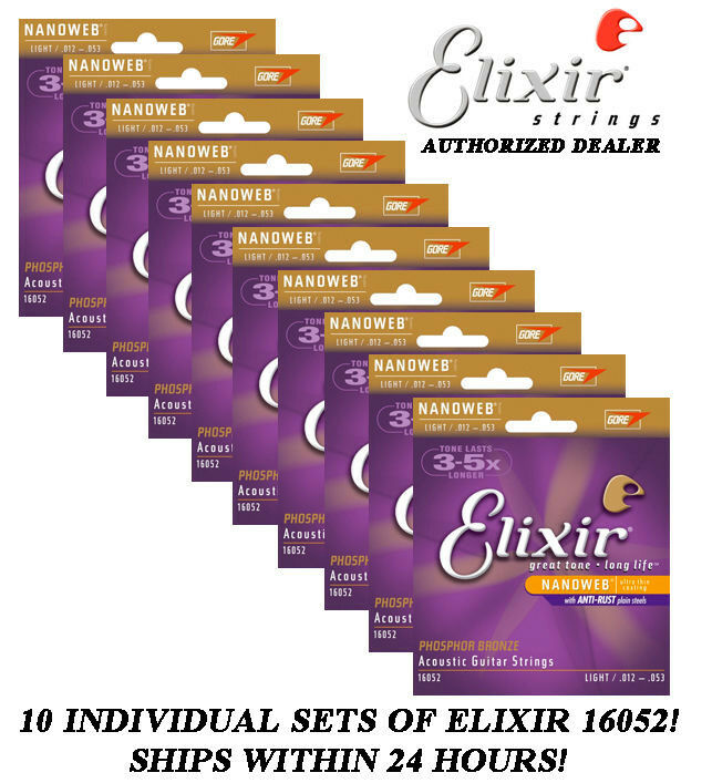 10 SETS ELIXIR 16052 NANOWEB ACOUSTIC GUITAR STRINGS LIGHT 12-53 PHOSPHOR BRONZE