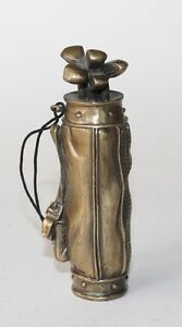 Brass-Golf-Bag-Amulet-or-Small-Table-Top-Figurine-Marked