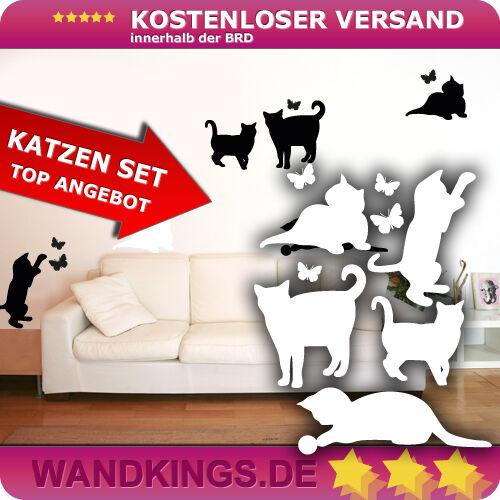 Wandkings Wandtattoo Katzen Wandsticker Schmetterling Cat butterfly 82x100cm TOP