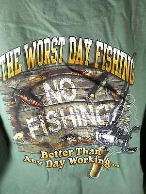 2XL light green TShirt Funny! Worst Day Fishing Better than Working LAKE boat