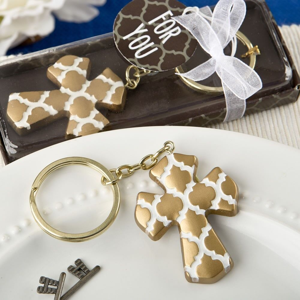 100 Gold Cross Keychain Christening Baptism Baby Shower Religious Party Favors