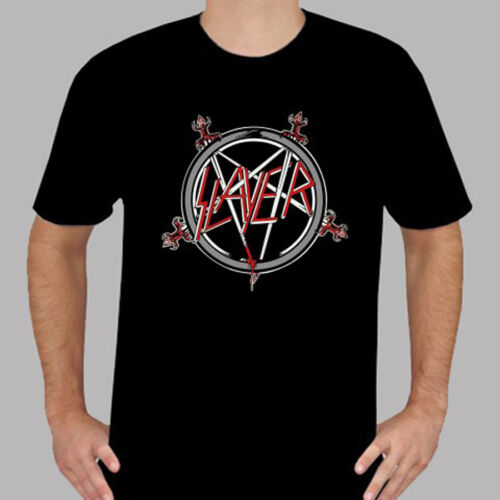 New SLAYER Pentagram Logo Metal Rock Band Men/'s Black T-Shirt Size S to 3XL