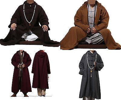 ZanYing Mens Winter Cloak Meditation Buddhist Monk Cloak With Pockets