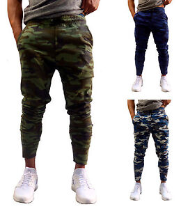 75ae423a MENS CAMO TAPERED LEG JOGGERS GYM TRACKIES SKINNY CUFFED PANTS TRACK ...
