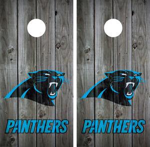Carolina Panthers Distressed Wood Grey Cornhole Board Wraps Decals