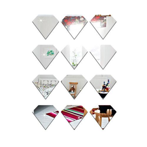12pcs Diamond Mirror Self-Adhesive Wall Stickers DIY Decals for Decoration SA