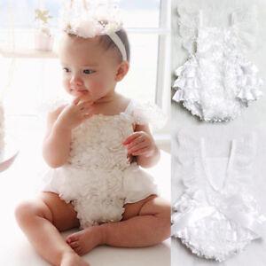 b8c238d13ea Image is loading Newborn-Baby-Girl-Romper-Lace-Floral-Ruffles-Sunsuit-