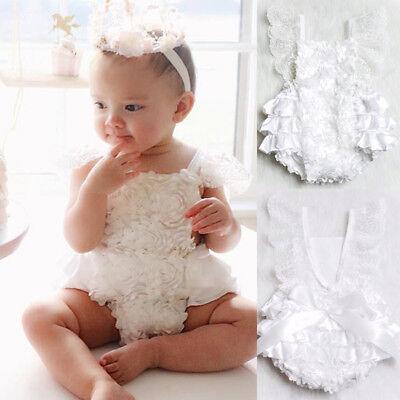 US Stock Newborn Baby Girl Ruffle Sleeve Romper Bodysuit Jumpsuit Sunsuit Outfit